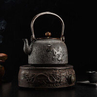 空谷幽兰铸铁茶壶 纯手工无涂层电陶炉家用礼品套装铸铁壶无涂层 铁茶壶日本南部生铁壶茶具烧水
