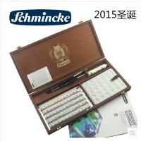 史明克固体水彩60色木盒 配送达芬奇画笔 留白液白瓷盘圣诞限量版