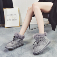 雪地靴女皮毛一�w2018冬季棉靴短筒�n版百搭�W生棉鞋加�q保暖短靴