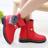 女童棉鞋加厚加绒小皮靴小女孩学生宝宝3-12岁雪地靴季防水公主