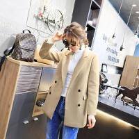 韩版毛呢外套女春装新款女装2018时尚西装领双排扣显瘦呢子大衣潮 米色