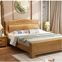 美立居工坊MLJ-C005中式橡木实木床含2个床头柜席梦思床垫