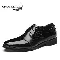 鳄鱼恤皮鞋百搭商务正装鞋系带婚鞋尖头鞋舒适男鞋