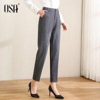 【2件3折到手价:159】OSA2021新款春季高腰西装裤OL职业灰色裤子女宽松直筒休闲九分裤