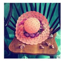 草帽女士夏天韩版遮阳帽大沿沙 滩帽花朵镂空 太阳帽防晒凉帽花环新