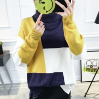 高领毛衣女套头2018春装女装新款大码宽松拼色长袖上衣针织打底衫 均码