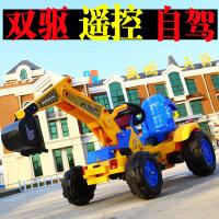 遥控儿童挖掘机可坐可骑电动挖土机推土钩机男孩玩具车双驱动