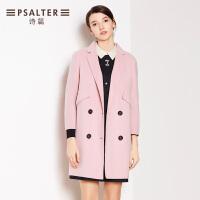 诗篇女装冬款 英伦时尚纯色中长款羊毛大衣65680154