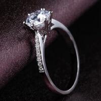 s925纯银六爪仿真钻戒女1克拉戒指环莫桑石情侣求婚个性饰品 配饰