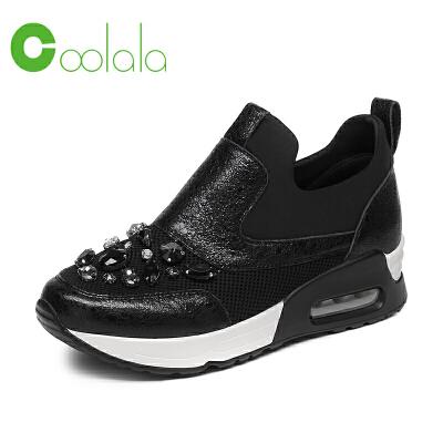 红蜻蜓coolala 冬季新款休闲运动鞋 牛皮革带钻真皮女鞋