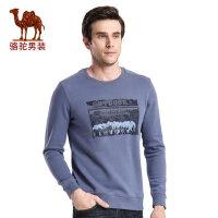 骆驼男装 秋季新款套头时尚印花圆领青春流行日常休闲卫衣男