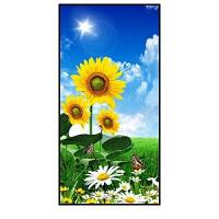 向日葵入户玄关装饰画走廊挂画竖版过道壁画现代卧室餐厅画太阳花