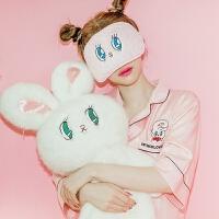 睡衣女夏冰丝短袖韩版绸性感可爱清新学生宽松开衫中长款睡衣 米菲兔 收藏送眼罩