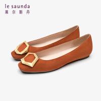 莱尔斯丹 女鞋专柜同款时尚通勤方头套脚浅口搭扣平底单鞋奶奶鞋LS AT06904