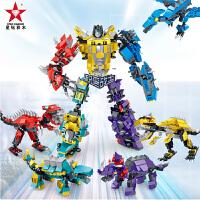 星钻暴龙神恐龙3变三代积变战士儿童塑料拼装插积木男孩益智玩具