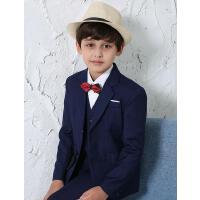 男童蓝色夹片西服套装新款儿童西装套装韩版时尚宝宝花童礼服男童小西装外套