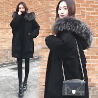 羽绒服女2018新款冬季中长款韩版宽松加厚大毛领茧型蝙蝠袖外套潮 黑色