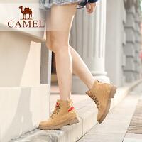 camel骆驼女鞋冬季新款马丁靴 时尚韩版瘦瘦靴短靴女低跟系带女靴