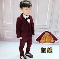 男童宝宝小孩西装套装男1-3岁潮小西服儿童礼服三件套17新款韩版 加绒