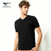 七匹狼短袖T恤男2019春夏季新品潮流都市青年韩版纯棉V领短袖T