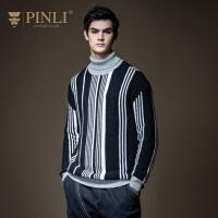 PINLI品立2020秋季新款男装纯棉条纹套头针织毛衣毛衫休闲圆领潮