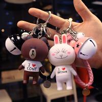 韩国卡通可爱汽车钥匙扣链圈布朗熊可妮兔子铃铛挂件新年狗年礼物