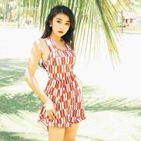 温泉分体裙式游泳衣女三件套比基尼保守韩国显瘦遮肚小胸聚拢 红色 M