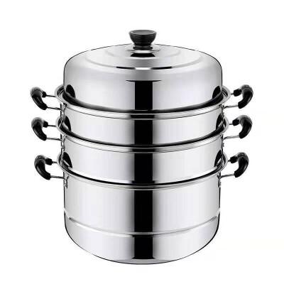 32cm三层加厚不锈钢蒸锅家用不锈钢锅双层汤锅蒸馒头包子锅具