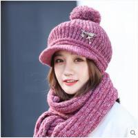 女冬天围巾帽子套装韩版毛线帽加绒加厚护耳帽时尚百搭针织帽
