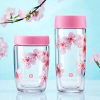 双层玻璃杯女士杯子韩版创意水杯家用隔热杯玻璃花茶杯随手杯