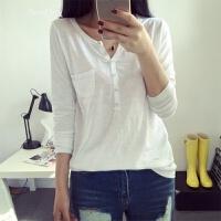 宽松纯色女士打底衫女百搭V领竹节棉长袖T恤女上衣 白色 单一码