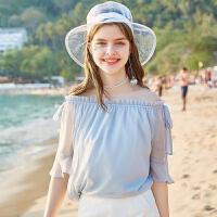 秋水伊人上衣2019夏新款女装松紧系带超仙喇叭袖洋气雪纺衫