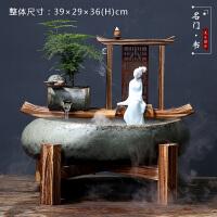 新中式客厅禅意摆件玄关办公室禅意中式流水摆件喷泉风水客厅办公室加湿器创意家居开业礼品