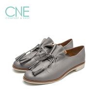 【顺丰包邮,大牌价:294】CNE2019年春夏季纯色圆头系带流苏舒适低跟小皮鞋女单鞋9T27103