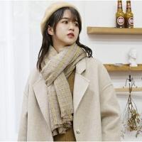 围巾女冬季韩版百搭学生2018新款保暖日系仿羊绒针织披肩格子围脖