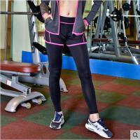 女士瑜伽裤假两件紧身 弹力运动裤健身舞蹈九分长裤跑步速干