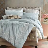 美式全棉手工刺绣暖绒磨毛床上四件套 冬季纯棉欧式复古床品套件 1.8m床(220*240被套) 新款