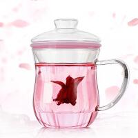 350ML耐高温过滤透明玻璃杯个性茶杯套装 办公茶杯加厚窈窕杯玻璃茶杯带盖办公家用水杯