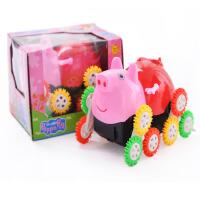 新品粉红小猪佩琪翻斗车 12轮彩色电动儿童玩具小猪翻斗车