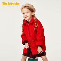 巴拉巴拉童装女童羊毛呢子外套秋冬2019新款儿童大衣宝宝中长款厚