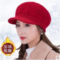 帽子冬季加绒加厚贝雷帽户外出行针织保暖帽中老年帽子