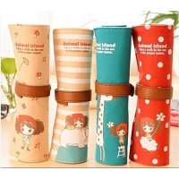 韩国文具 可爱卡通卷发女孩大容量帆布文具笔袋 铅笔盒笔帘化妆袋