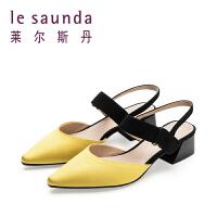 莱尔斯丹 新款一字跟中跟鞋粗跟包头尖头凉鞋仙女风单鞋32710