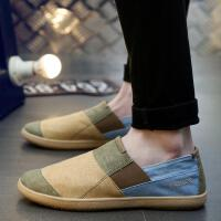 DAZED CONFUSED夏天新款潮流懒人鞋复古低帮懒汉帆布鞋一脚蹬透气男士休闲套脚鞋