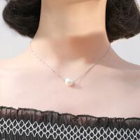 925纯银一颗仿珍珠项链装饰锁骨链女士单颗吊坠简约百搭配饰