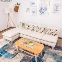 北欧沙发客厅整装经济型家具现代简约小户型双人三人布艺沙发组合 沙发整套(220*125*70cm)