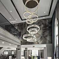 客厅灯 水晶灯圆形酒店别墅吊灯水晶圆形客厅灯现代简约复式楼梯灯具后现代轻奢美式