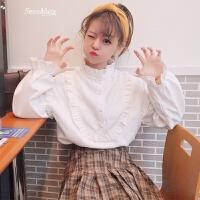 春装新款女装韩版木耳边拼接立领百搭衬衫宽松学生纯色打底衫衬衣 白色 均码