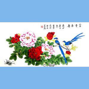 北京著名工笔画家,北京市美协会员,北京九久书画收藏文化交流中心画家凌雪(富贵长寿)