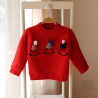 季女宝宝加绒加厚毛衣套头1-2-3岁4女童针织打底衫婴儿童秋装 加绒毛衣-红色笑脸帽子